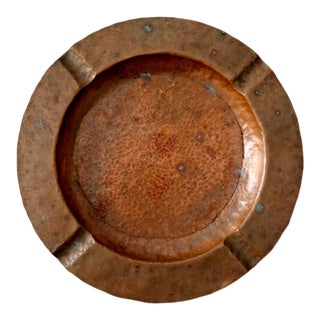 Vintage Hammered Copper Ashtray For Sale
