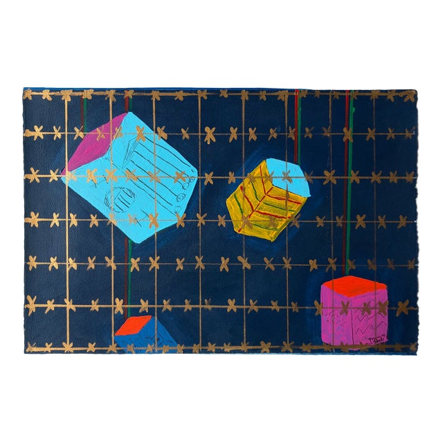 """Frances Schifflette Hicks Abstract """"Floating Cubes"""" 1980s San Francisco Women Artists For Sale"""
