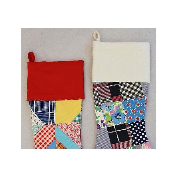 """Americana Large 22"""" Custom Tailored Patchwork Quilt Christmas Stockings - Pair For Sale - Image 3 of 8"""