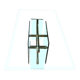 1970s Pace Collection Sculptural Rectangular Brass and Glass Dining Table For Sale