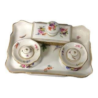 Vintage Meissen Porcelain Desk Set For Sale