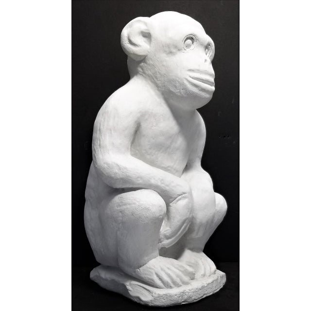Vintage White Cement Monkey Sculpture Doorstop - Palm Beach Boho Chic Mid Century Modern Animal For Sale - Image 10 of 10