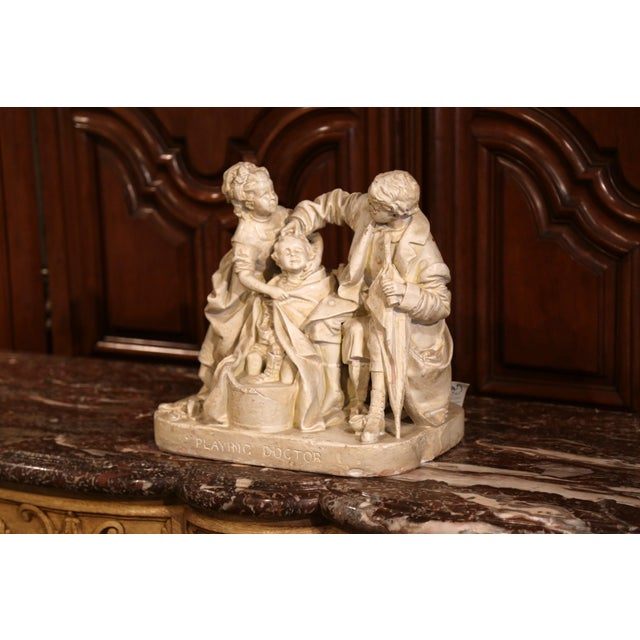 "American Classical 19th Century American Cast Plaster Sculpture ""Playing Doctor"" Signed John Rogers For Sale - Image 3 of 13"