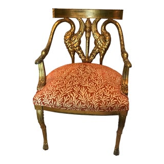 Gold Leaf French Regency Arm Chair For Sale