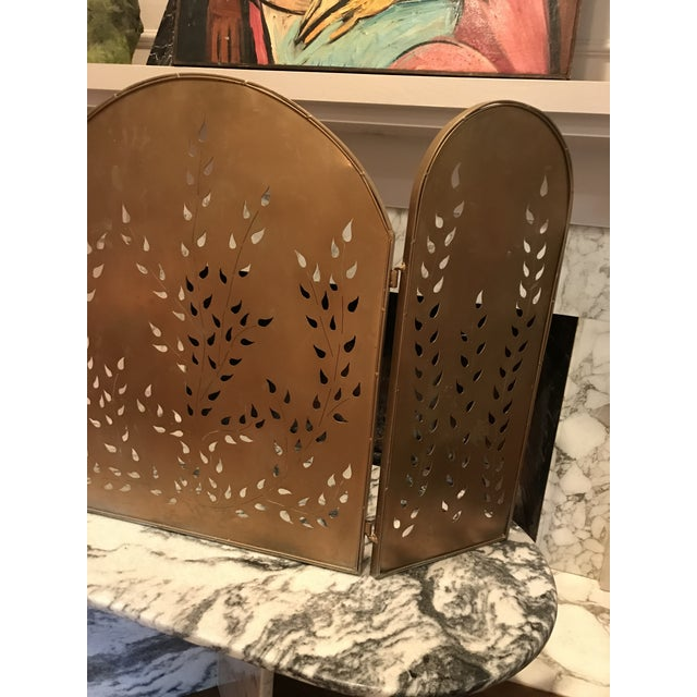 Mid-Century Modern Vintage Mid-Century Modern Metal Arched Gold Fireplace Screen For Sale - Image 3 of 7
