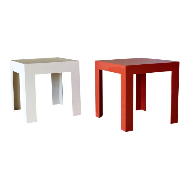 1970s Modern Parsons Fiberglass Red and White Side Tables – a Pair For Sale