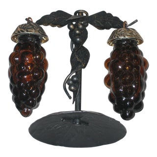 Vintage Salt & Pepper Shakers of Grapes With Stand