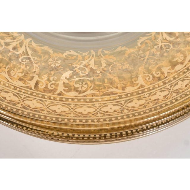 Splendid Set of Six Antique Gilded and Sterling Overlay Glass Dessert Plates For Sale - Image 9 of 11