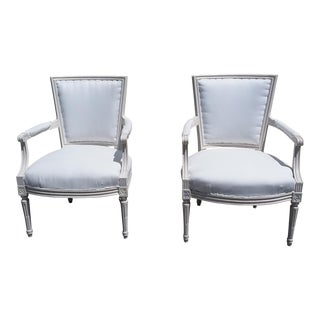 French Style White Arm Chairs - A Pair For Sale