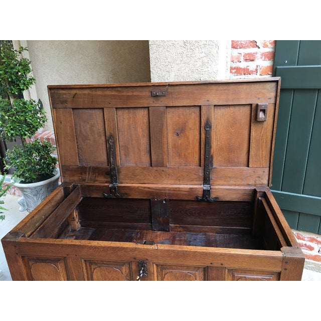 Wood 1900s Antique French Country Carved Oak Mule Chest Bench Coffer Trunk For Sale - Image 7 of 13