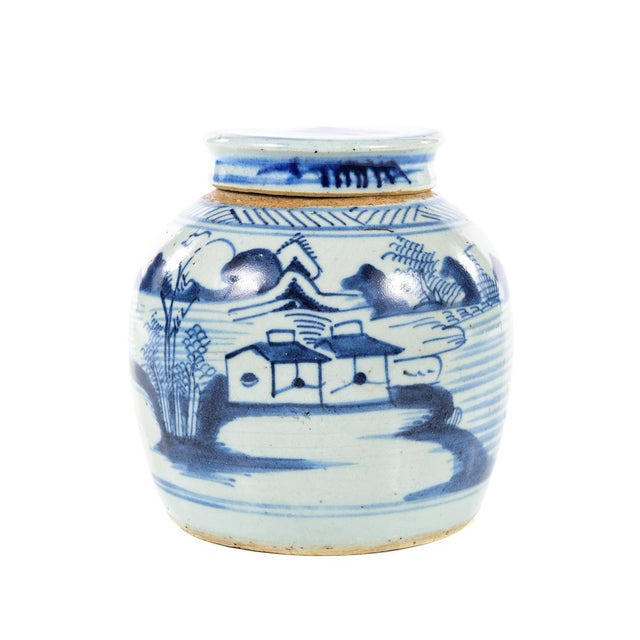 Antique Chinese blue & white Jar size 6 x 7""