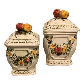 Mid-Century Glazed Ceramic Lidded Jars - A Pair