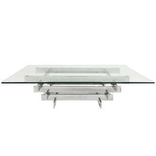 "1960s Italian ""Tavolo Scultura"" Stacked Chrome Coffee Table by David Hicks For Sale"