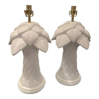 Vintage Plaster Palm Frond Tree Leaves Lacquered White Table Lamps -A Pair