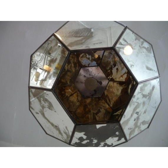 Mid-Century Mirrored Hexagon Hanging Lamp For Sale - Image 4 of 6