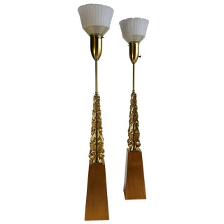 Monumental Gold Gilt Table Lamps Stunning Modern Regency by Rembrandt - A Pair For Sale