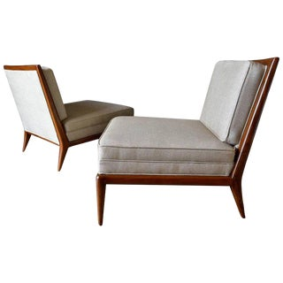 On Hold 1965 Mid-Century Modern Walnut Frame Slipper Chairs - a Pair