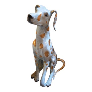 Lost Old Wax Sculpted Glazed Bronze Dalmatian Statue For Sale