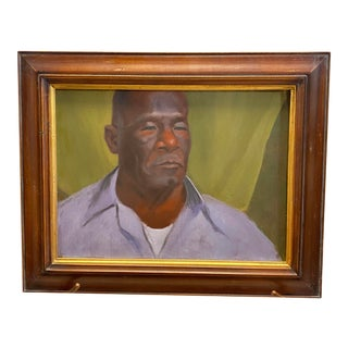 Vintage Oil on Canvas Portrait of an African American Man Framed Painting For Sale