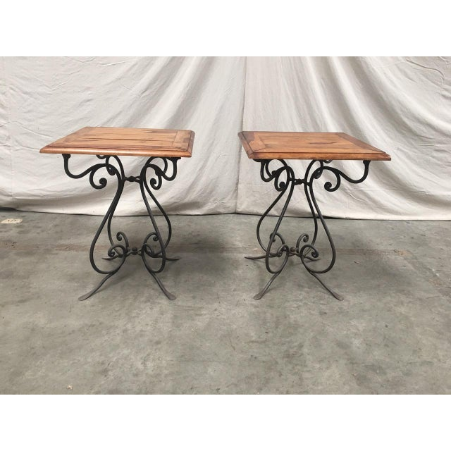 Rustic French Bistro Walnut SideTables With Iron Bases - a Pair For Sale - Image 4 of 12