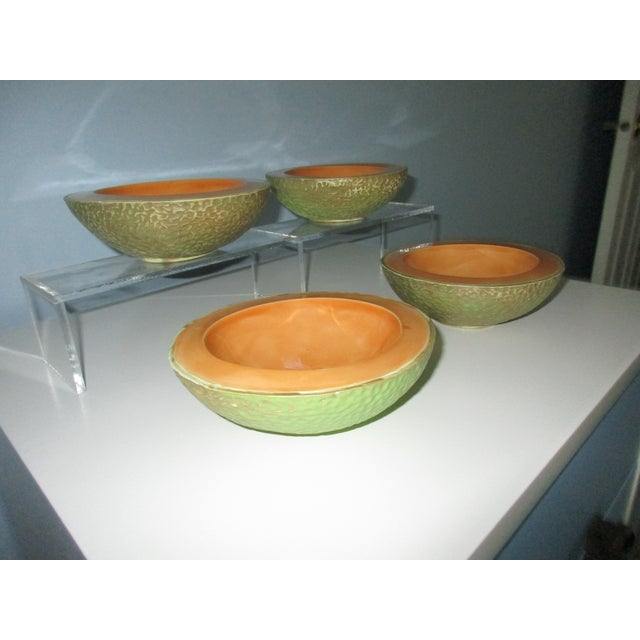 Mid 20th Century Vintage Cantaloupe Serving Bowls - Set of 4 For Sale - Image 5 of 13