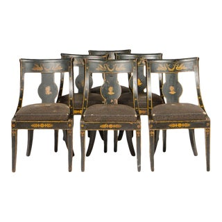 1810s Vintage French Slip Seat Gondola Chairs - Set of 6 For Sale