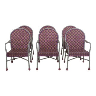 Mackenzie -Childs Patio Arm Chairs- Set of 6 For Sale