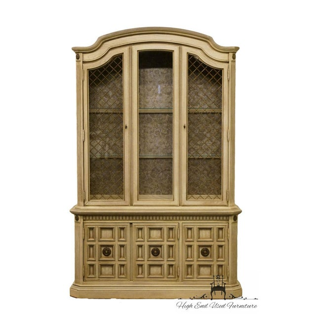"STANLEY FURNITURE French Provincial 52"" Antique White China Cabinet 80.5"" High 52.25"" Wide 15.25"" Deep We specialize in..."