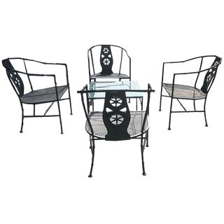 "1960s Salterini Black ""Montego"" Five-Piece Patio Set For Sale"