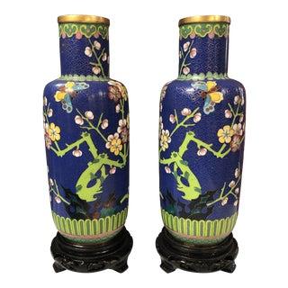 Vintage Cloisonné Butterfly Vases - a Pair For Sale