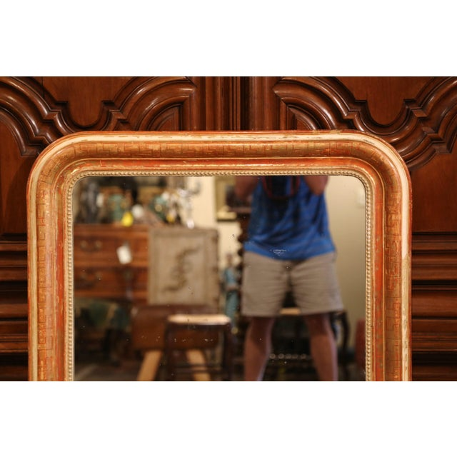 French Mid-19th Century French Louis Philippe Red and Gilt Wall Mirror With Greek Motif For Sale - Image 3 of 7