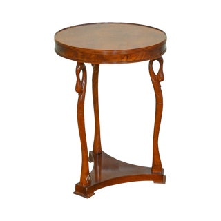 Empire Style Burl Wood Small Round Swan Neck Side Table Gueridon