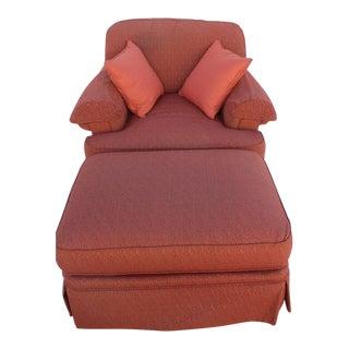 1990s Vintage Henredon Chair & Ottoman For Sale