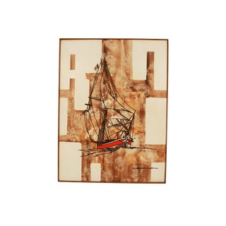 Michael Quincy Rothwell Mid Century Abstract Expressionist Original Oil Painting Signed For Sale
