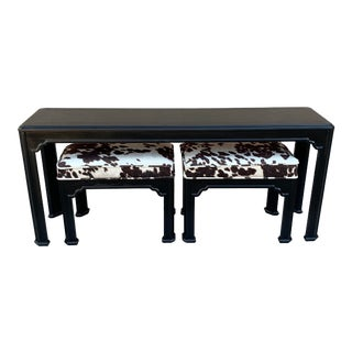 1980s Drexel Heritage Chinoiserie Sofa Table With Matching Bench Seats - 3 Pieces For Sale