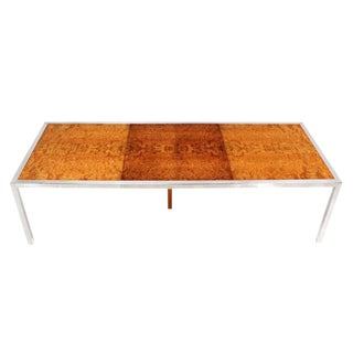 Chrome & Burl Wood Dining Conference Table For Sale