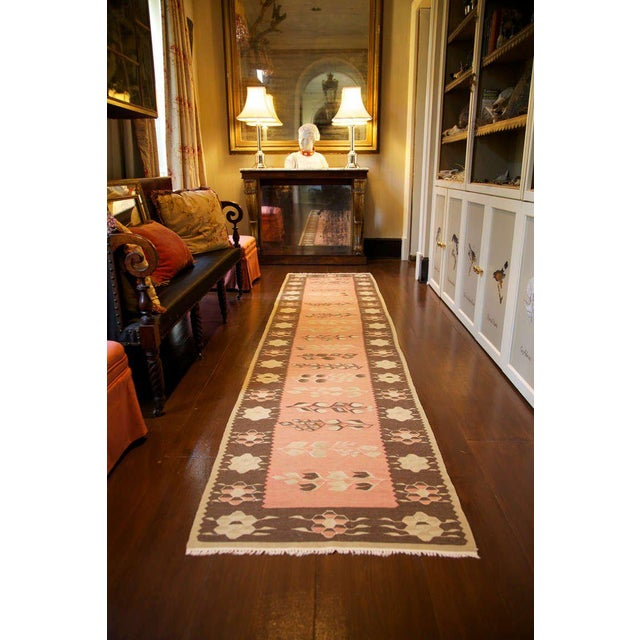 English Traditional 19th Century Pink and Brown Kilim Runner from Bulgaria For Sale - Image 3 of 4