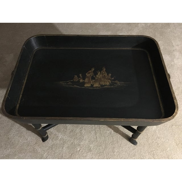 Vintage Chinoiserie Hand Painted Wooden Rectangle Tray Table For Sale - Image 13 of 13