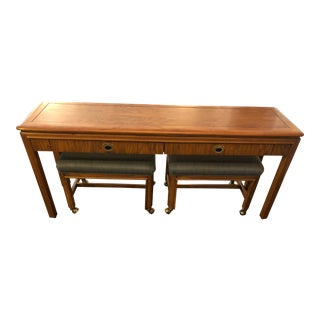 Campaign Style Console Table & Benches by Drexel Heritage - 3 Pieces For Sale