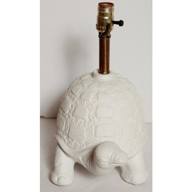 1960s Modern White Plaster Turtle Table Lamp For Sale - Image 5 of 11