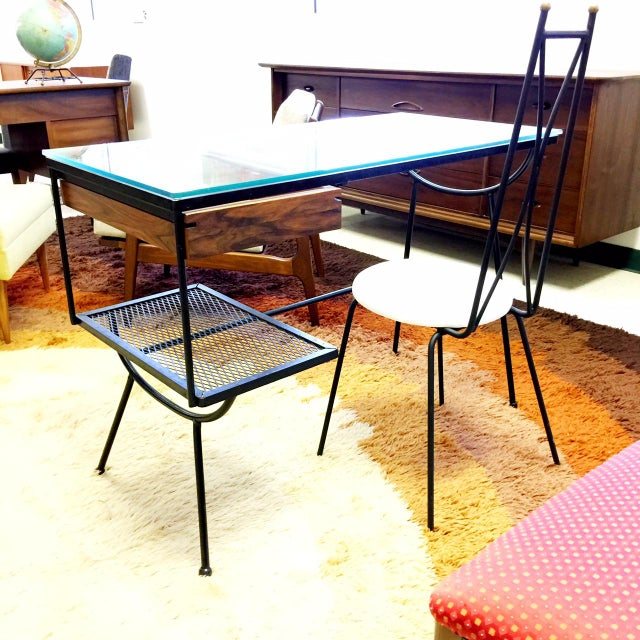 Contemporary George Nelson for Arbuck Glass & Iron Desk & Chair - A Pair For Sale - Image 3 of 4