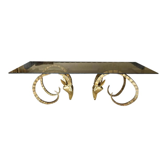 Brass Ram Base Coffee Table - Image 1 of 6