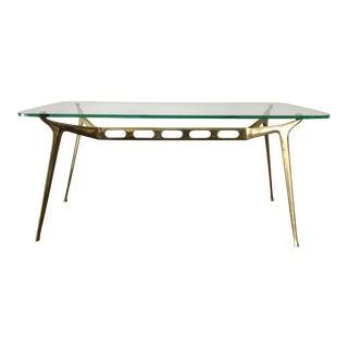 Cesare Lacca Glass Top Brass Cocktail Table For Sale