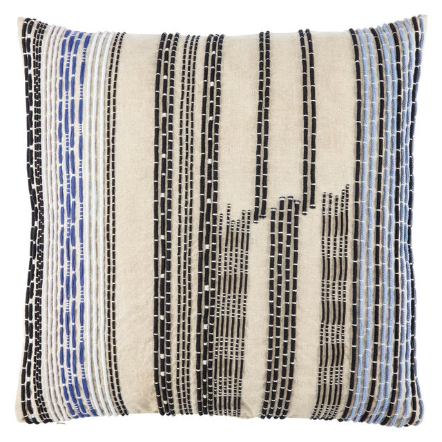 Contemporary Nikki Chu by Jaipur Living Nova Cream/ Black Stripe Down Throw Pillow For Sale - Image 3 of 3