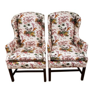 Late 20th Century Custom Upholstered Wingback Chairs With Hunting Dog - a Pair For Sale