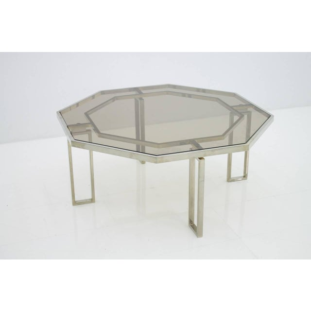 Octagonal Coffee Table With Metal Base and Glass Top, 1960s For Sale - Image 6 of 8