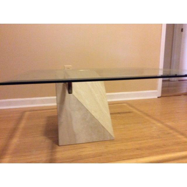 Mid-Century Travertine Glass Coffee Table - Image 3 of 5