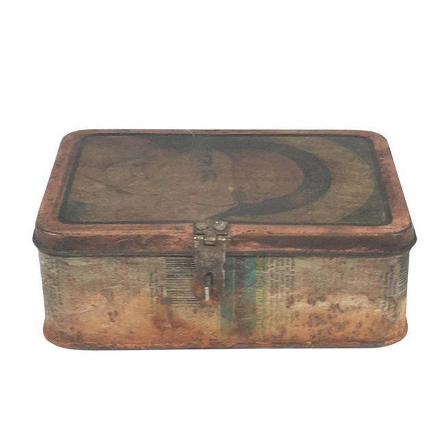 Rustic Vintage Indian Decorative Metal Lunch Box For Sale - Image 3 of 6