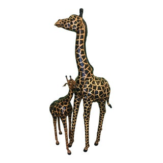 Momma and Baby Painted Leather Giraffe Sculptures For Sale