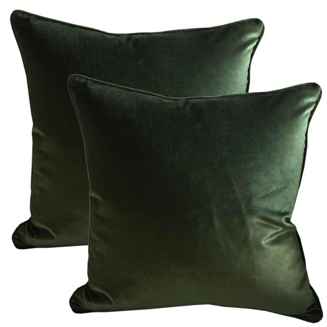 Art Deco Belgian Green Silk Velvet Accent Pillows - A Pair For Sale - Image 3 of 3